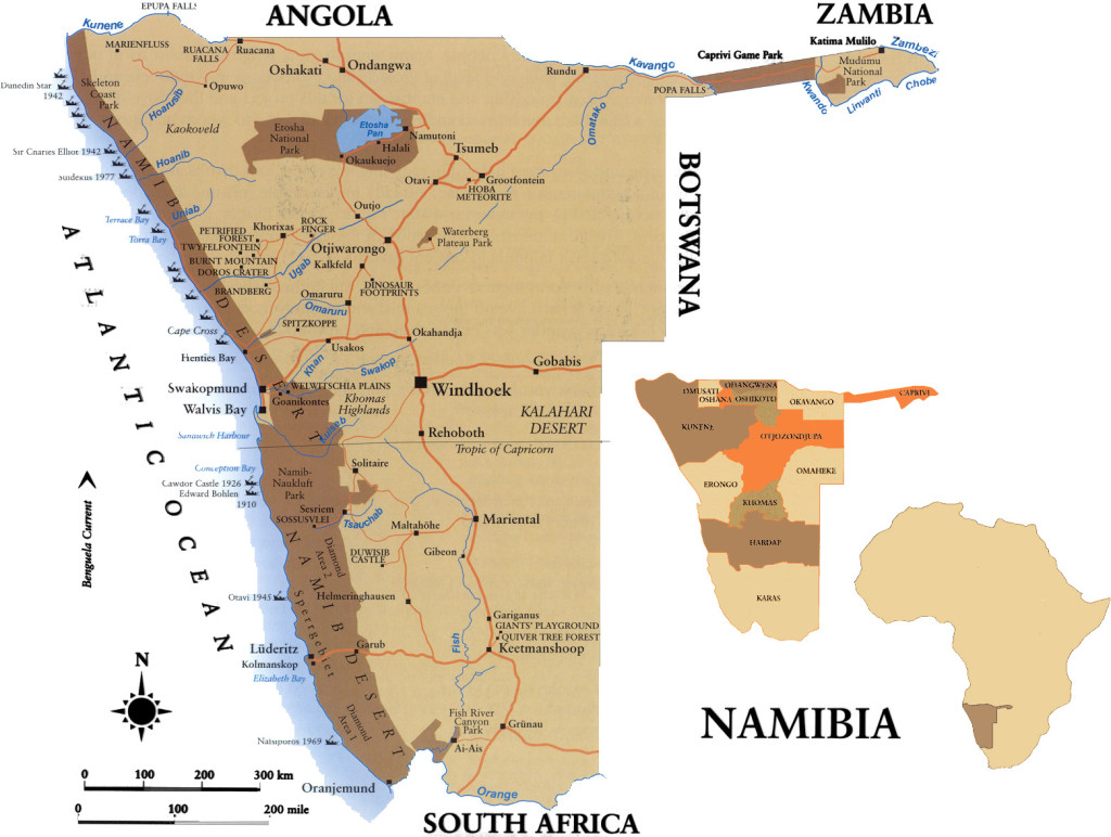 Map Routes Namibia 4X4 Rentals